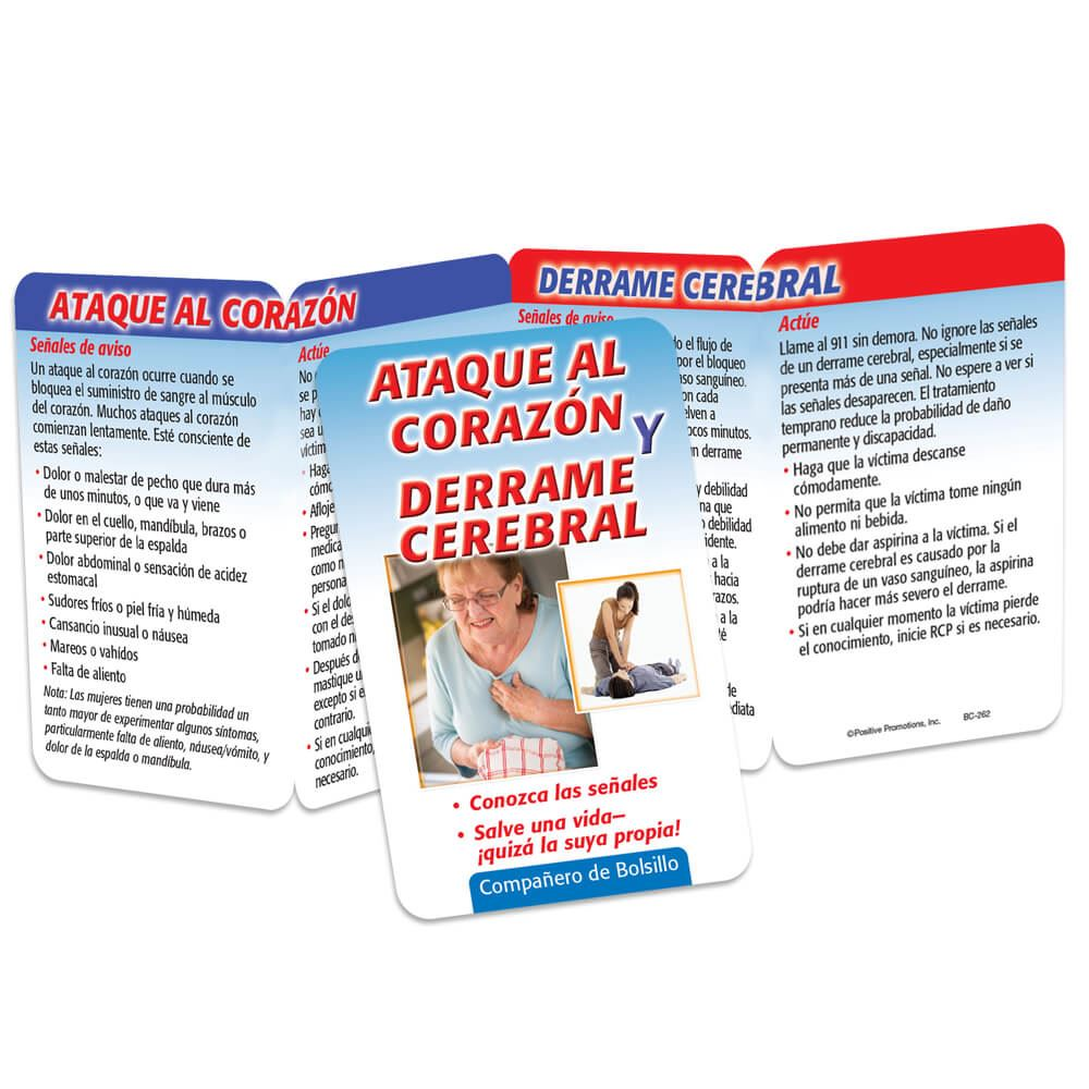Heart Attack & Stroke: Know The Signs - Save A Life-Perhaps Your Own! Spanish Language Pocket Pal - Personalization Available