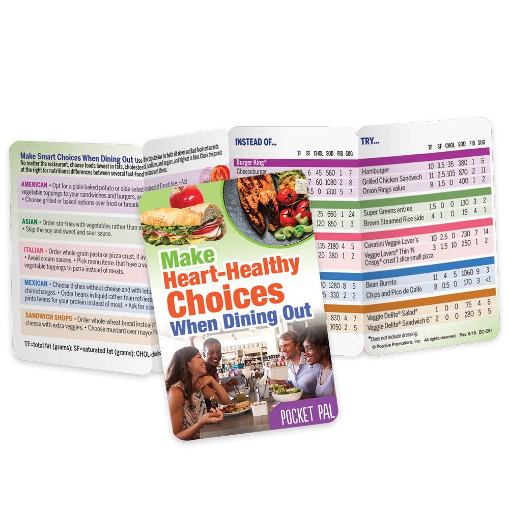 Make Heart-Healthy Choices When Dining Out Pocket Pal - Personalization Available
