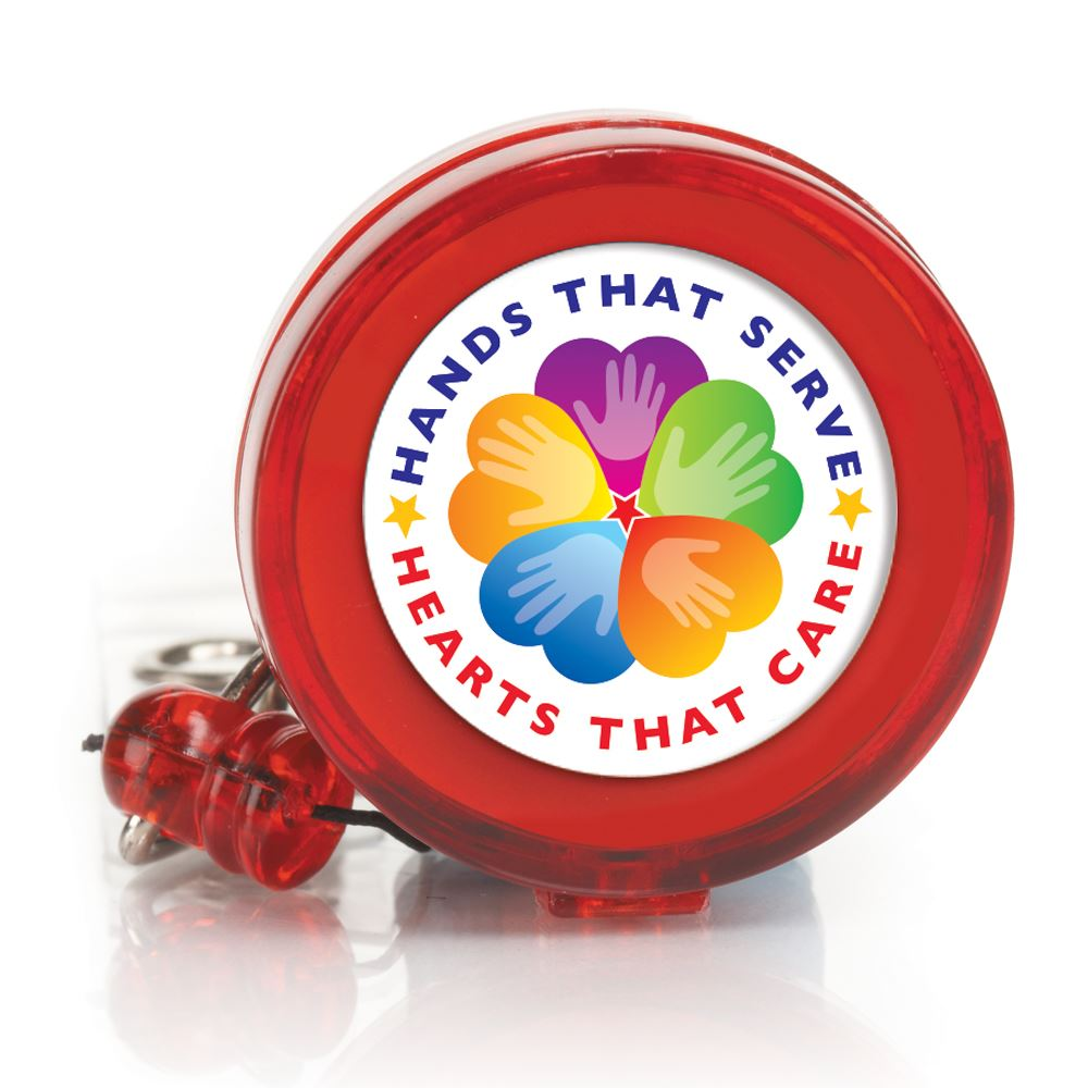 Hands That Serve, Hearts That Care 4-Color Retractable Badge Holder