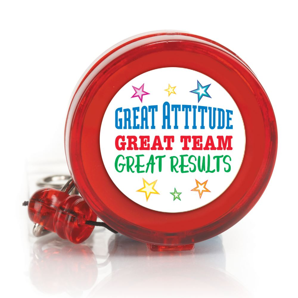 Great Attitude, Great Team, Great Results 4-Color Retractable Badge Holder
