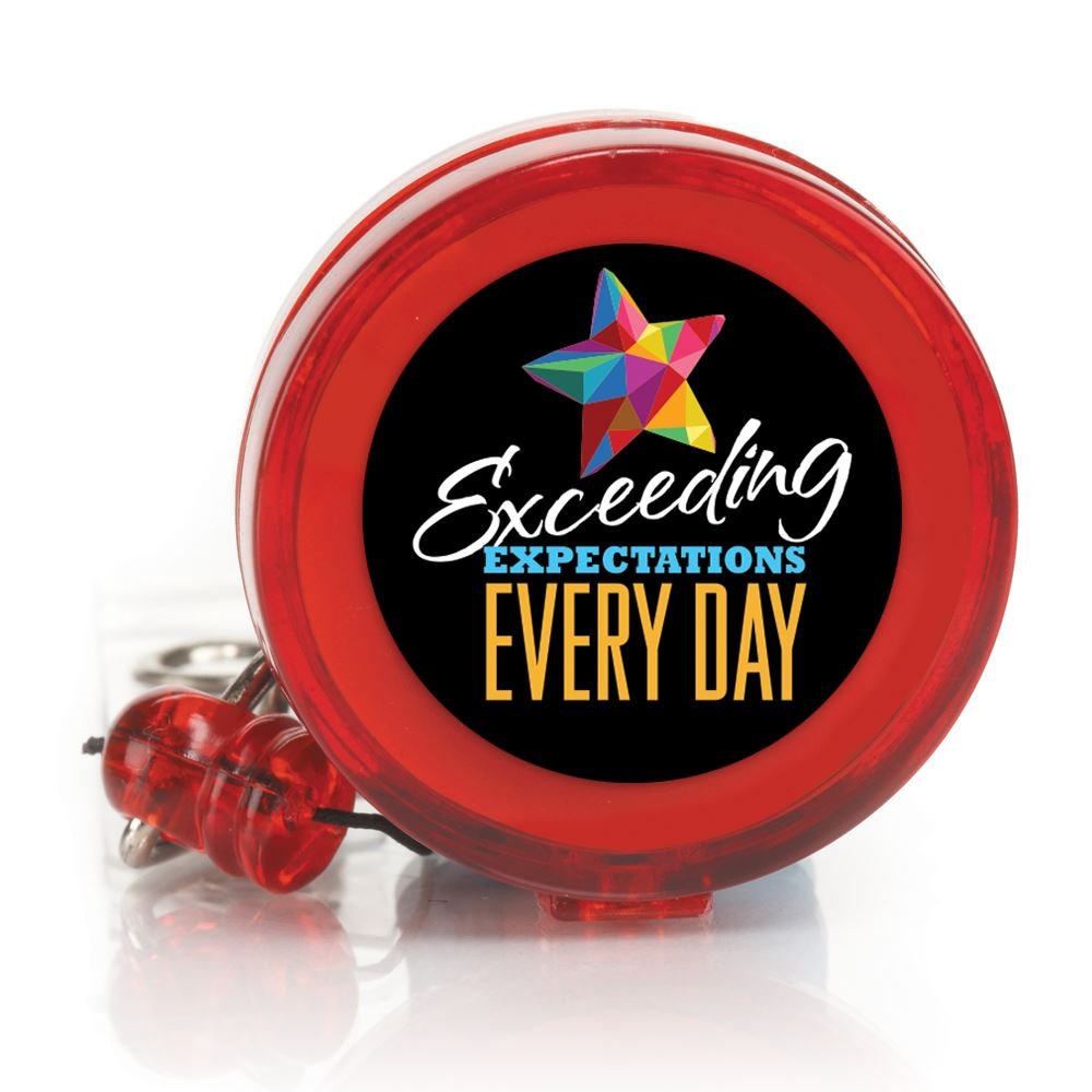 Exceeding Expectations Every Day 4-Color Retractable Badge Holder