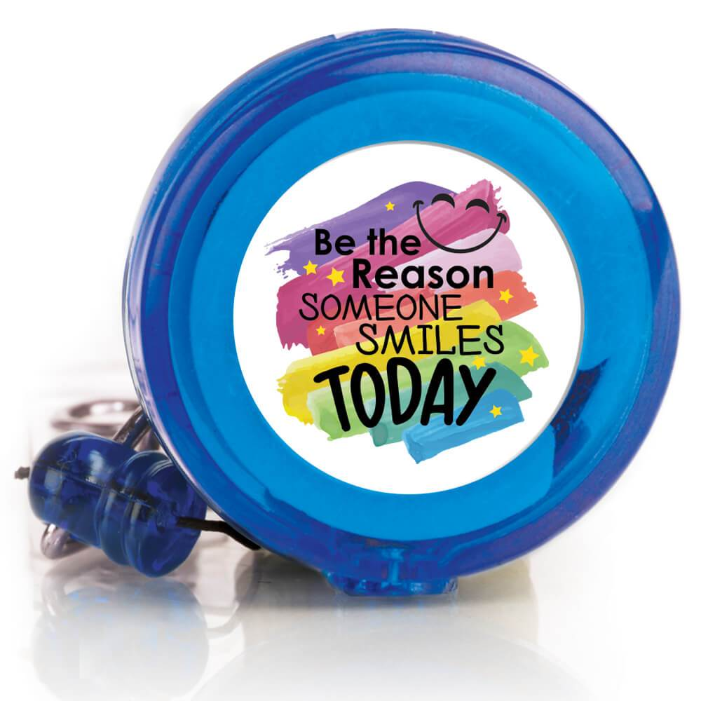 Be The Reason Someone Smiles Today 4-Color Retractable Badge Holder