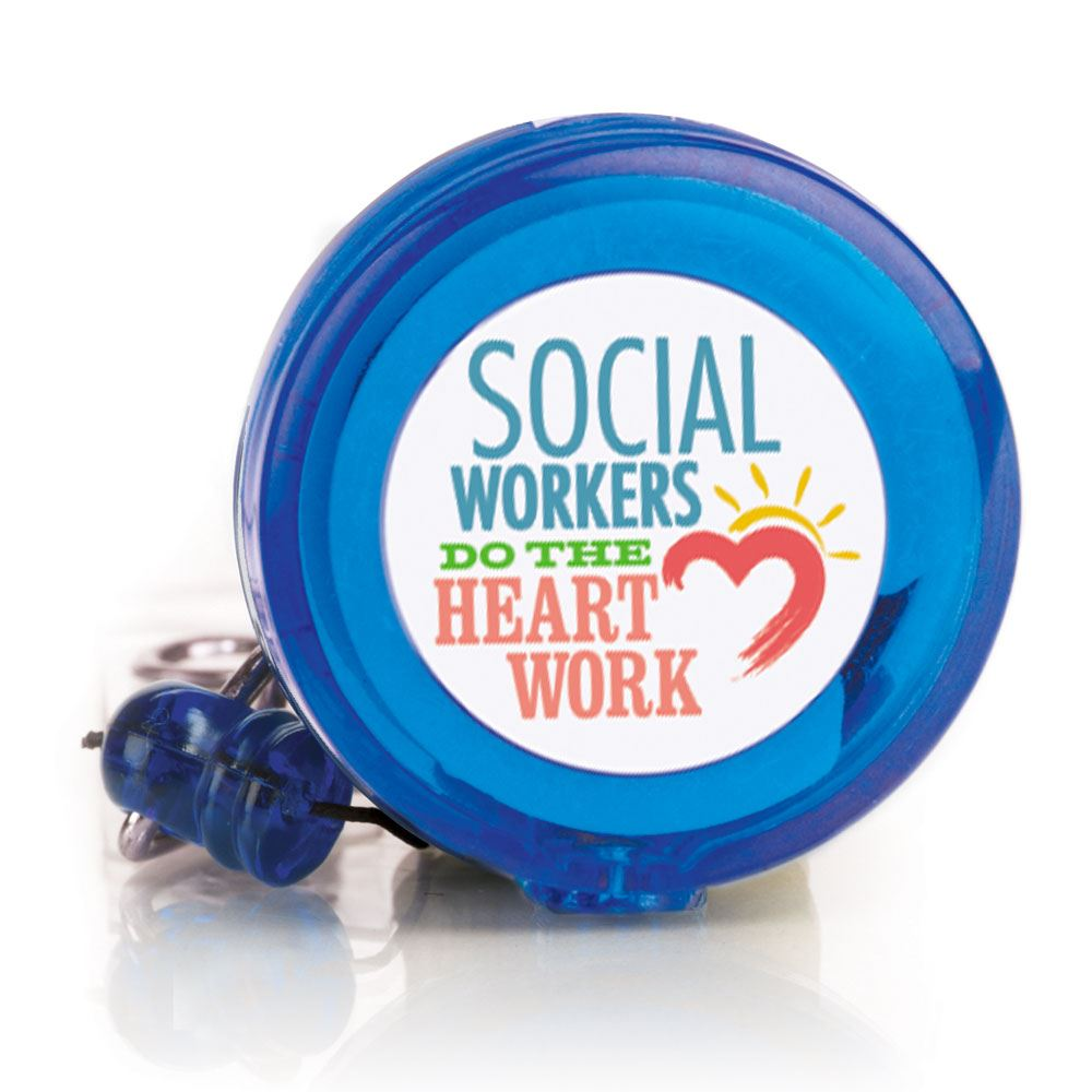 Social Workers Do The Heart Work 4-Color Retractable Badge Holder