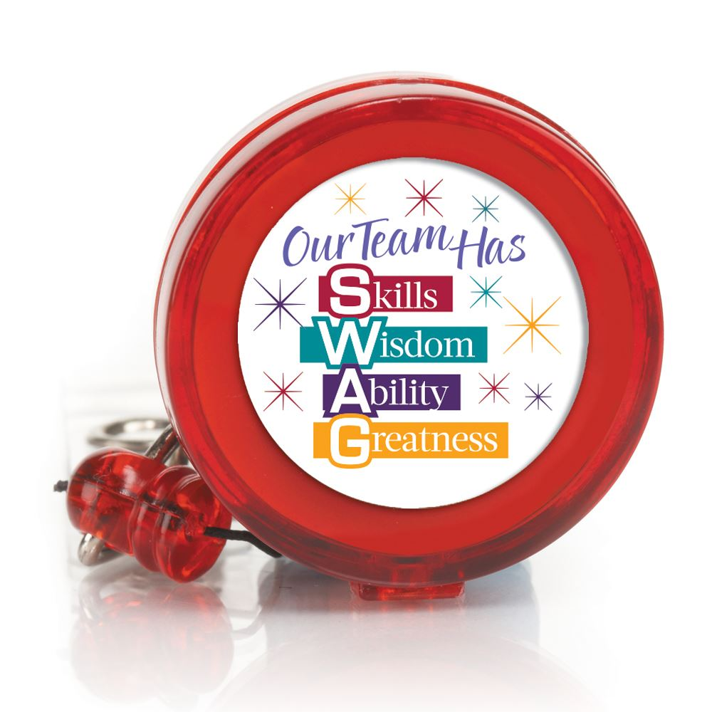Our Team Has Skills Wisdom Ability Greatness 4-Color Retractable Badge Holder