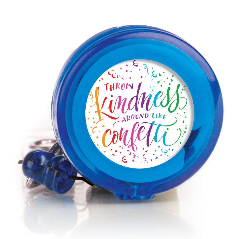 Throw Kindness Around Like Confetti 4-Color Retractable Badge Holder