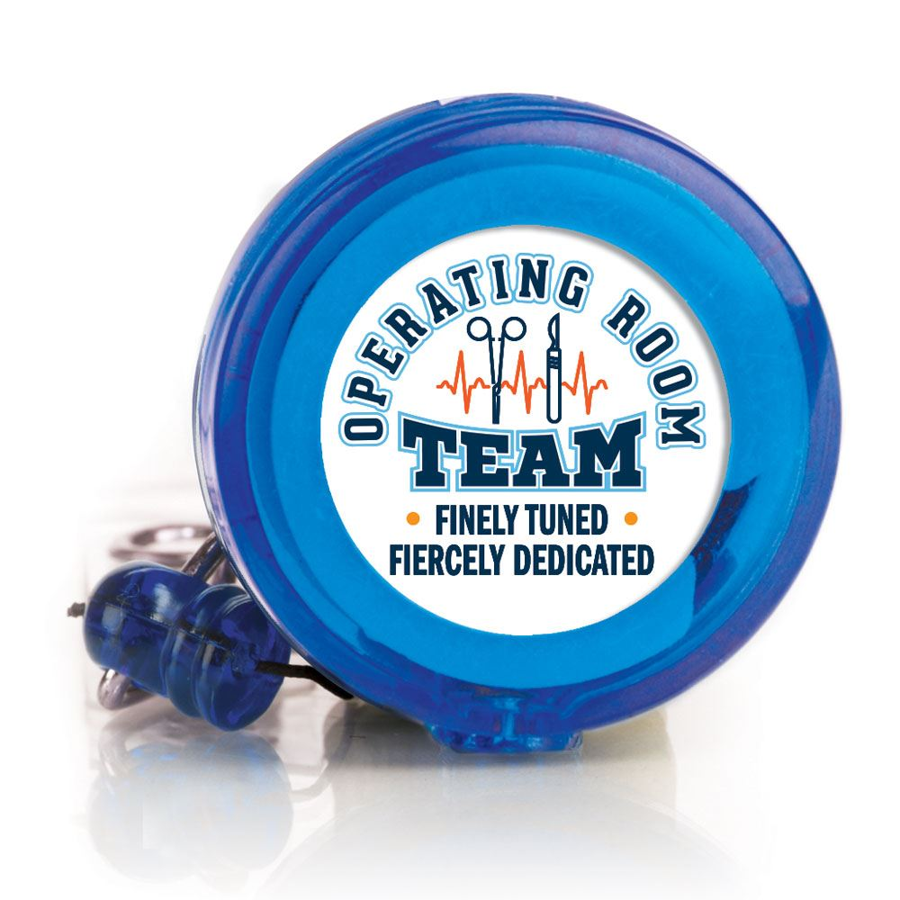 Operating Room Team: Finley Tuned, Fiercely Dedicated Retractable Badge Holder