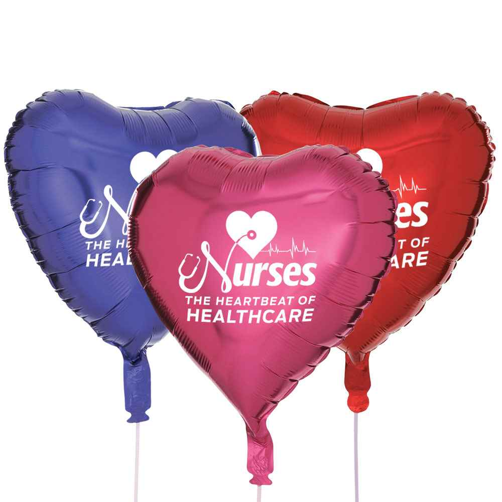 Nurses: The Heartbeat Of Healthcare Heart-Shaped Foil Celebration Balloons