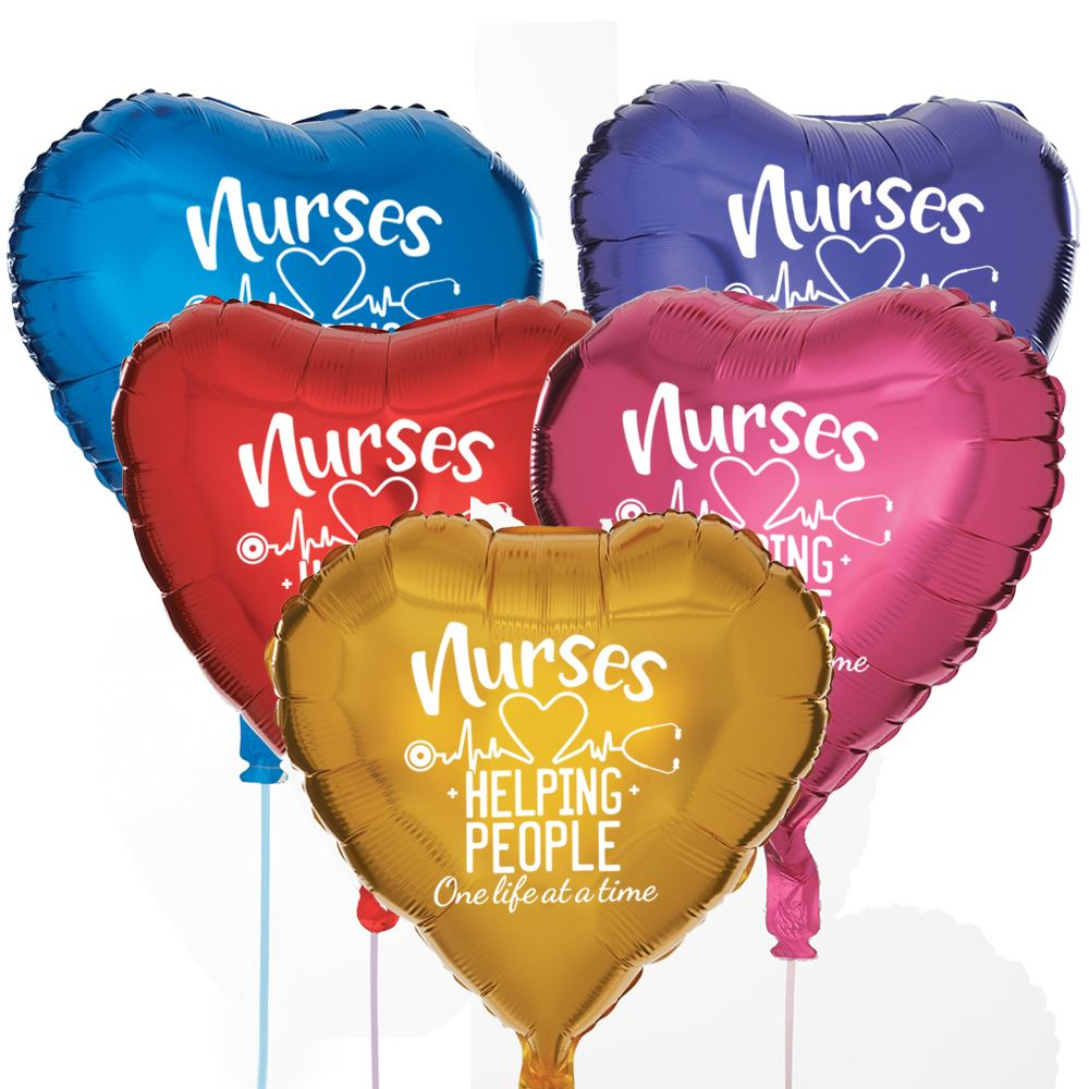 Nurses: Helping People One Life At A Time Heart-Shaped Foil Celebration Balloons