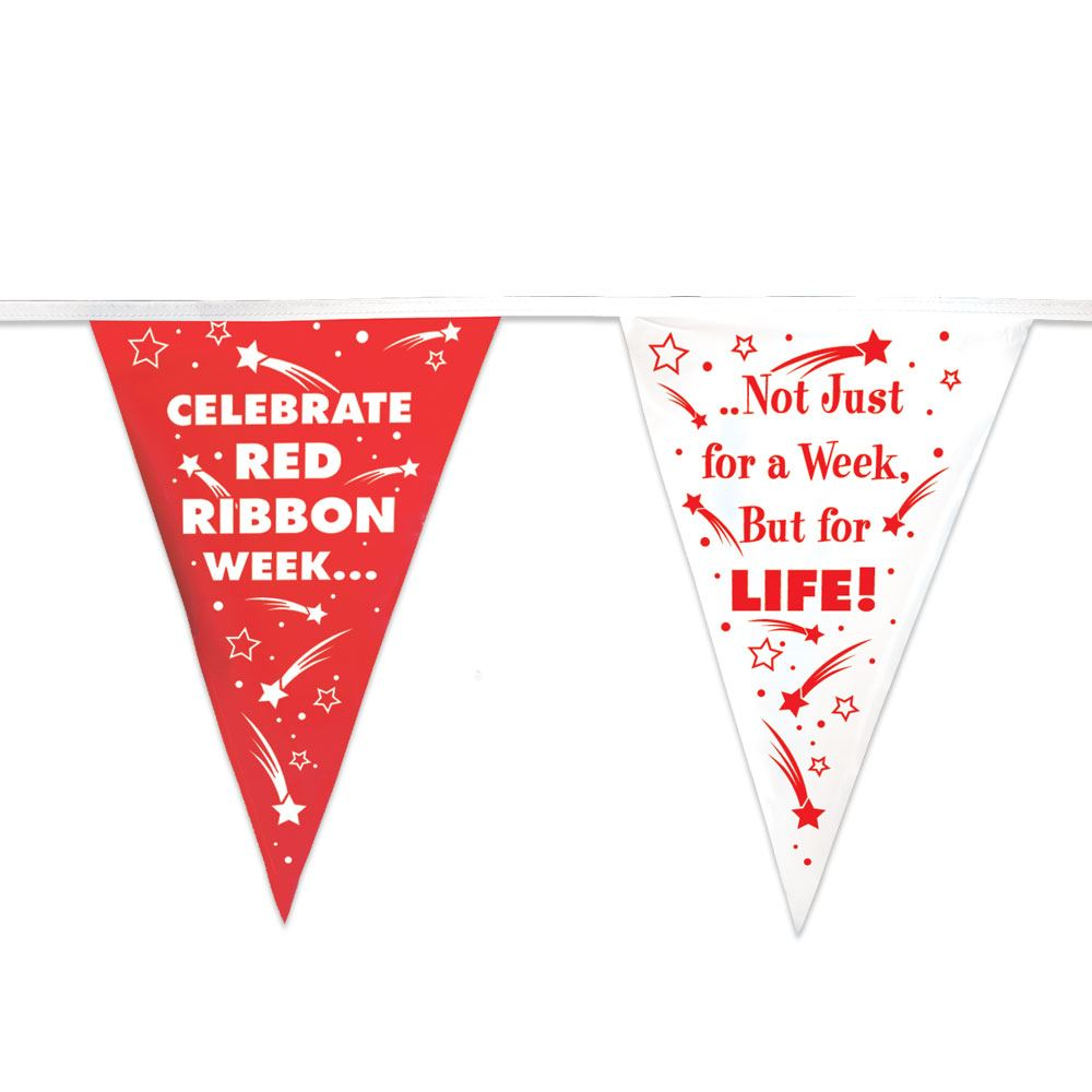 Celebrate Red Ribbon Week 60' Red & White Stringed Pennants