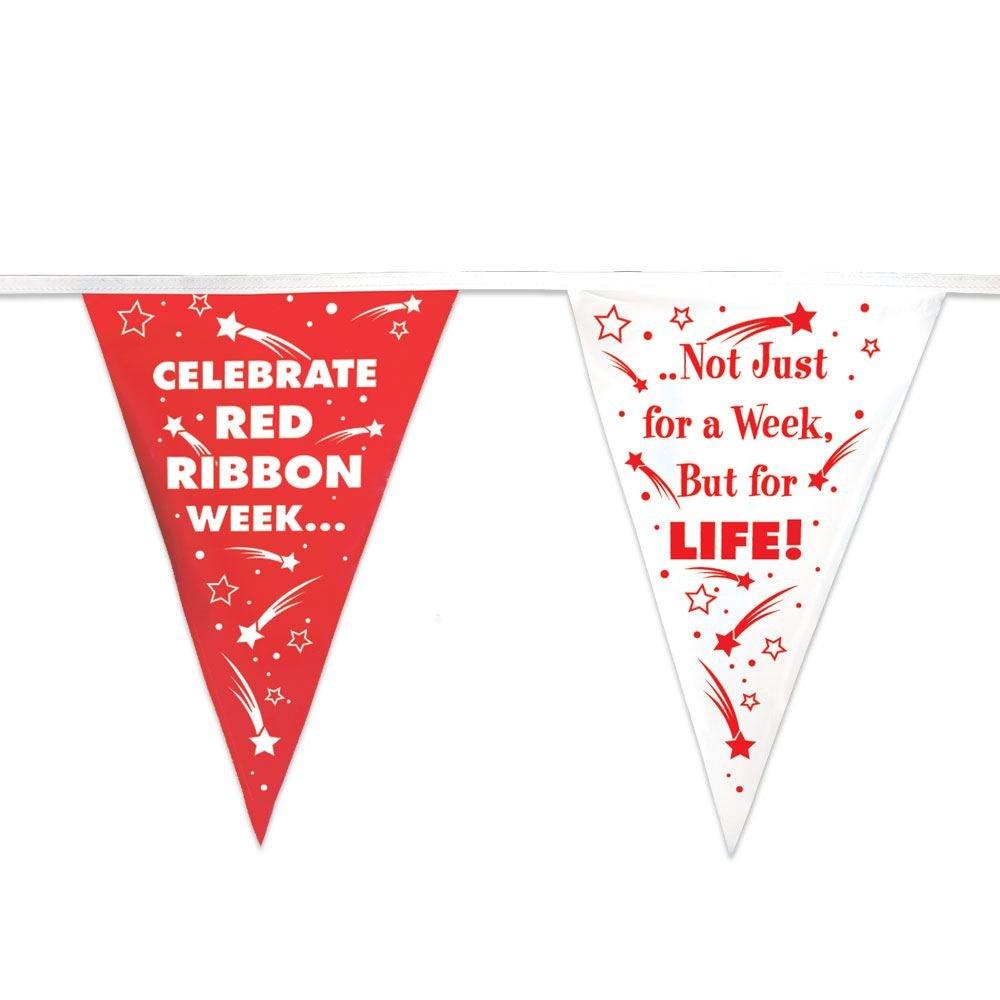Celebrate Red Ribbon Week 60' Red & White Stringed Pennants