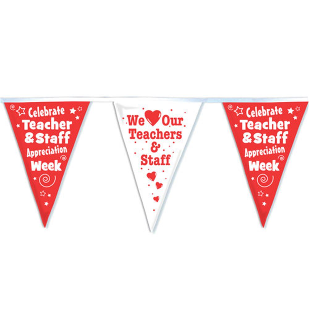 Teachers & Staff 60' Red & White Stringed Pennants