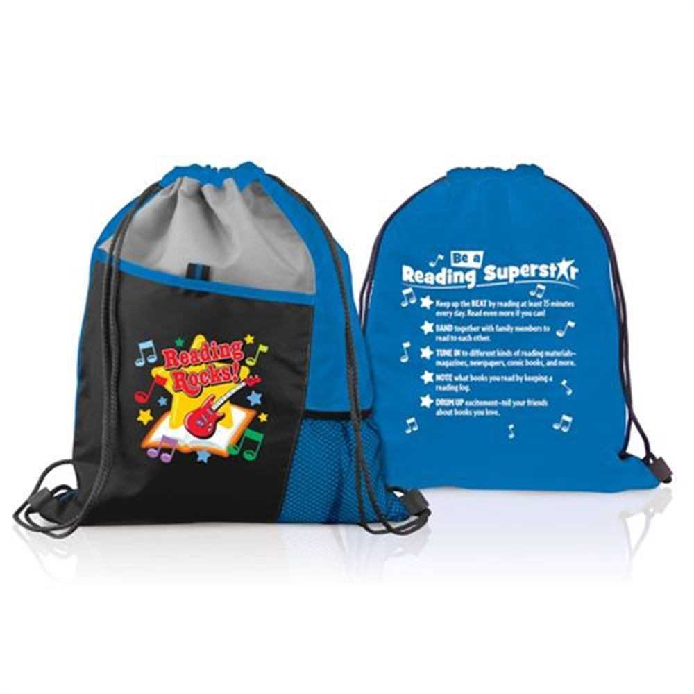Reading Rocks! 2-Sided Drawstring Backpack With Tips ...