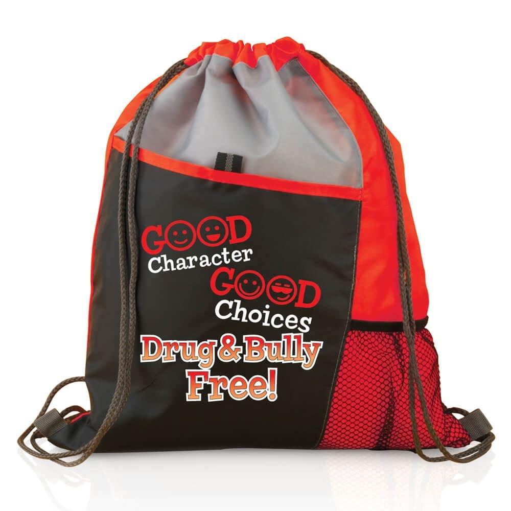 Good Character, Good Choices: Drug And Bully Free! Red Ribbon Sports Drawstring Backpack