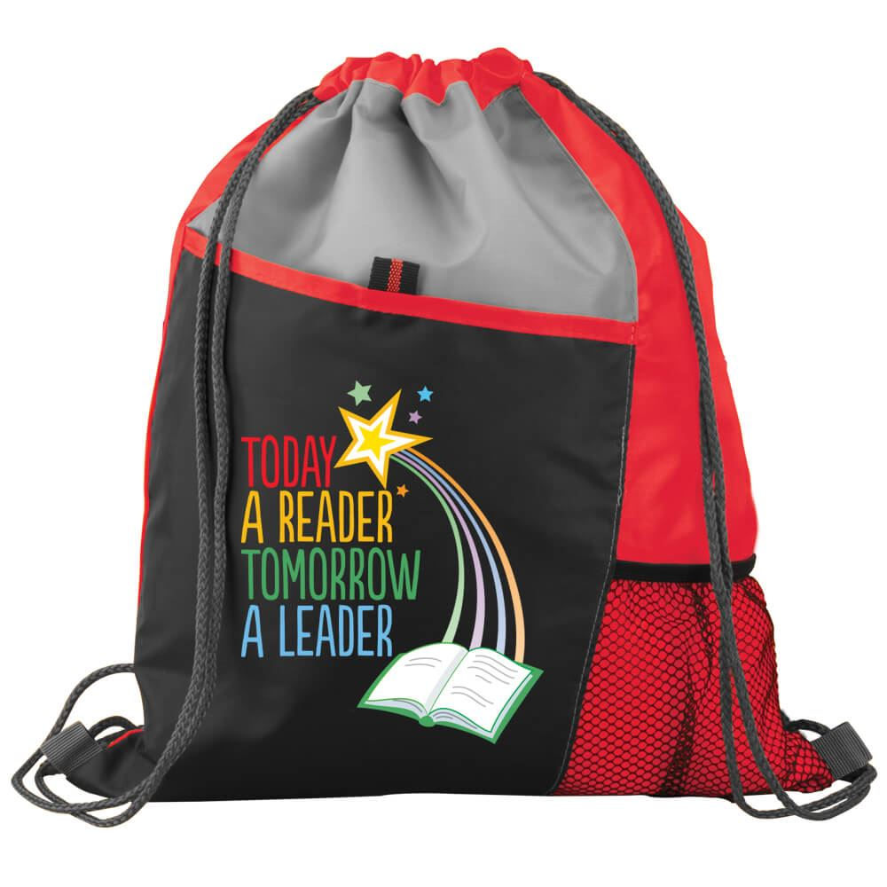 Today A Reader, Tomorrow A Leader Drawstring Backpack