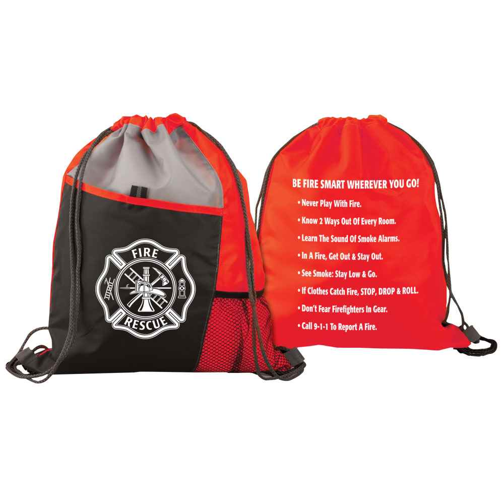 Maltese Cross Fire Rescue Deluxe Drawstring Backpack With Fire Safety Tips