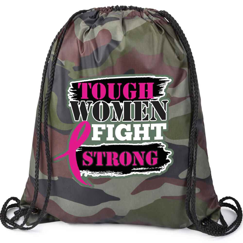 Tough Women Fight Strong Camouflage Nylon Drawstring Backpack