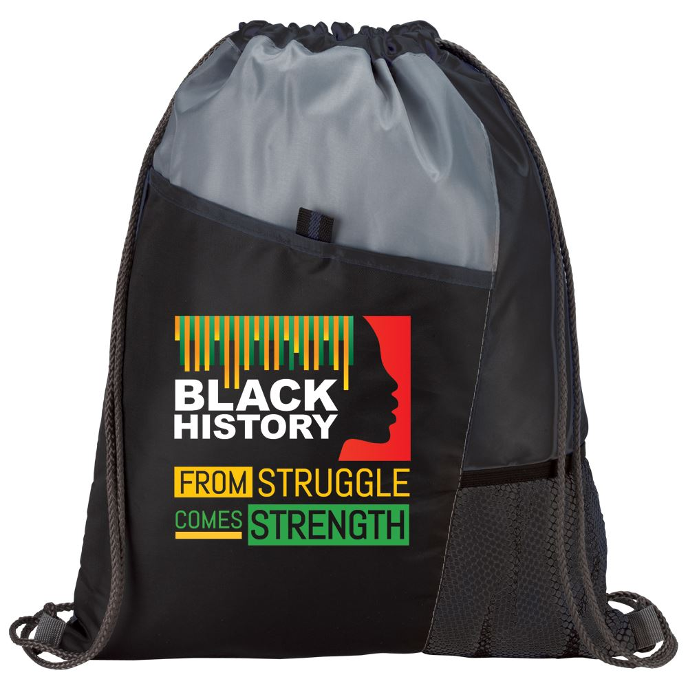 Black History: From Struggle Comes Strength Drawstring Backpack