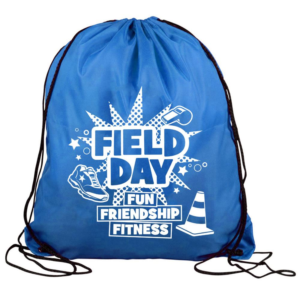 Field Day Fun, Friendship, Fitness Drawstring Backpack