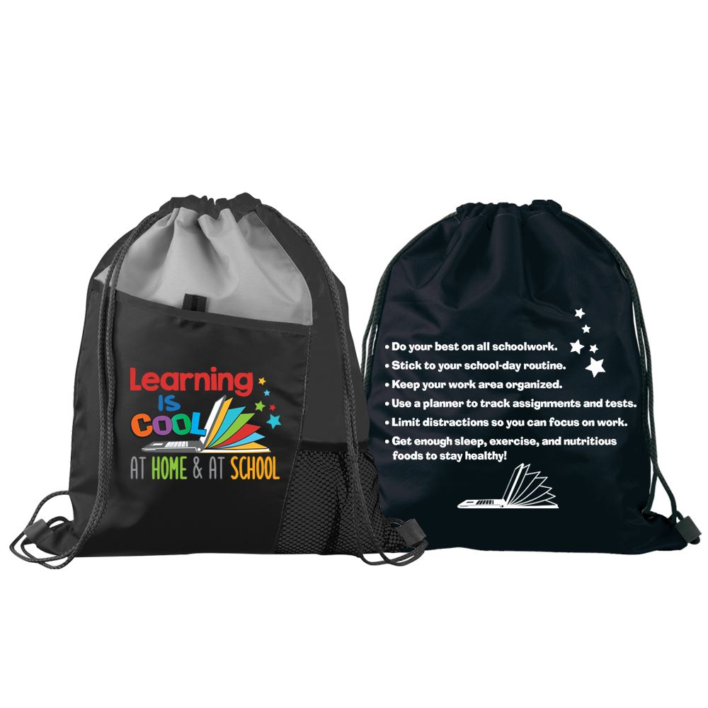 Learning Is Cool At Home & At School Drawstring Backpack