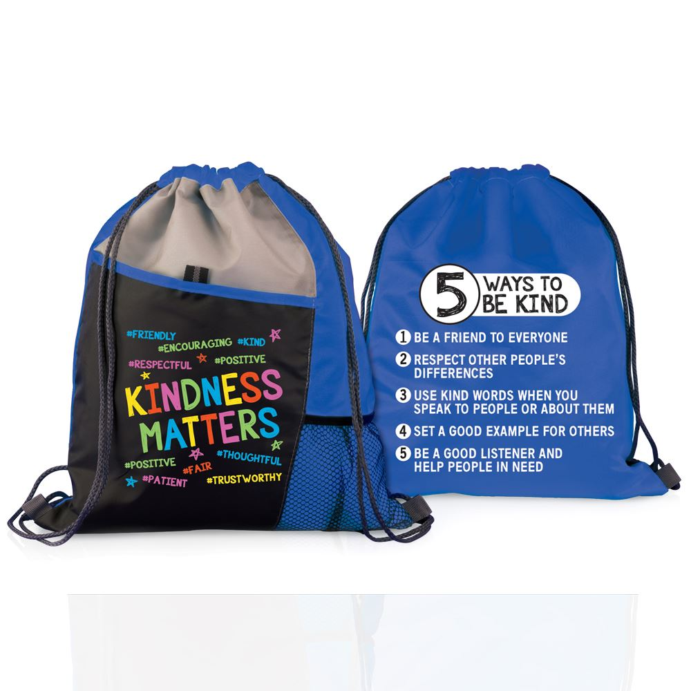 Kindness Matters Two-Sided Drawstring Backpack With Tips