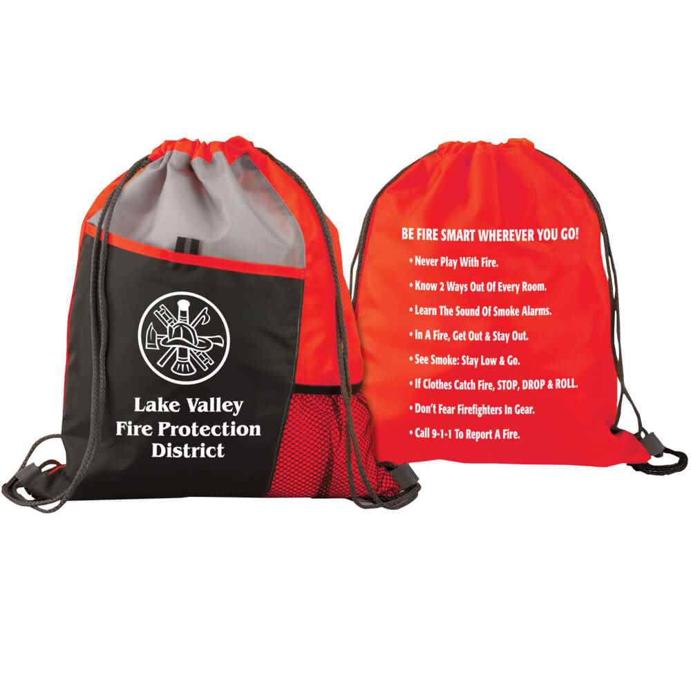 Deluxe Drawstring Backpack With Fire Safety Tips - Personalization Available