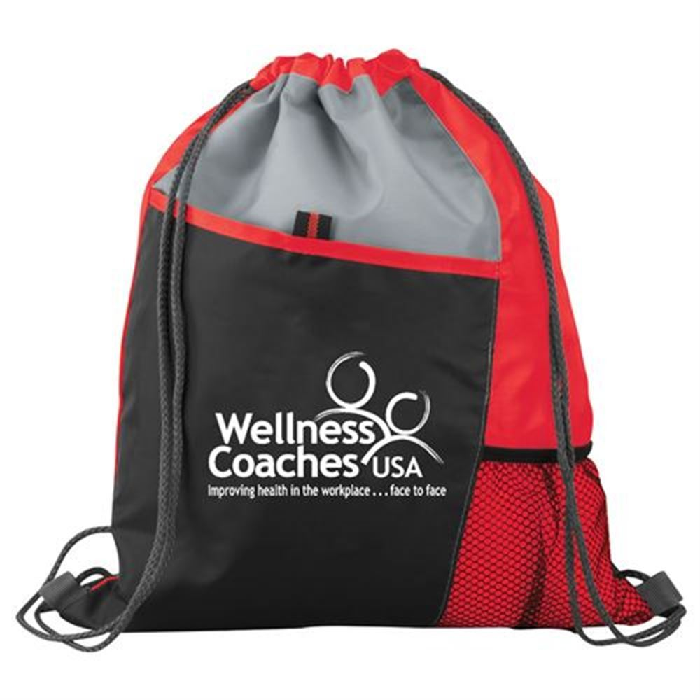 Red Sport Drawstring Mesh Backpack - Personalization Available