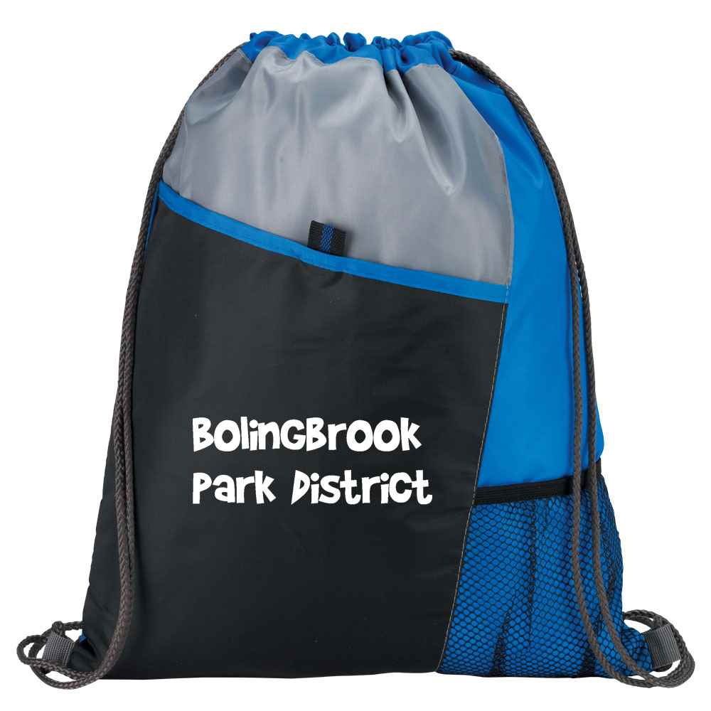 Blue Tri-Tone Sport Drawstring Mesh Backpack - Personalization Available