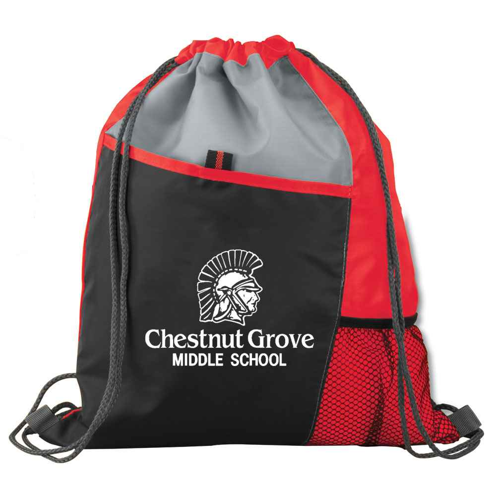 Tri-Tone Red Sport Drawstring Mesh Backpack - Personalization Available