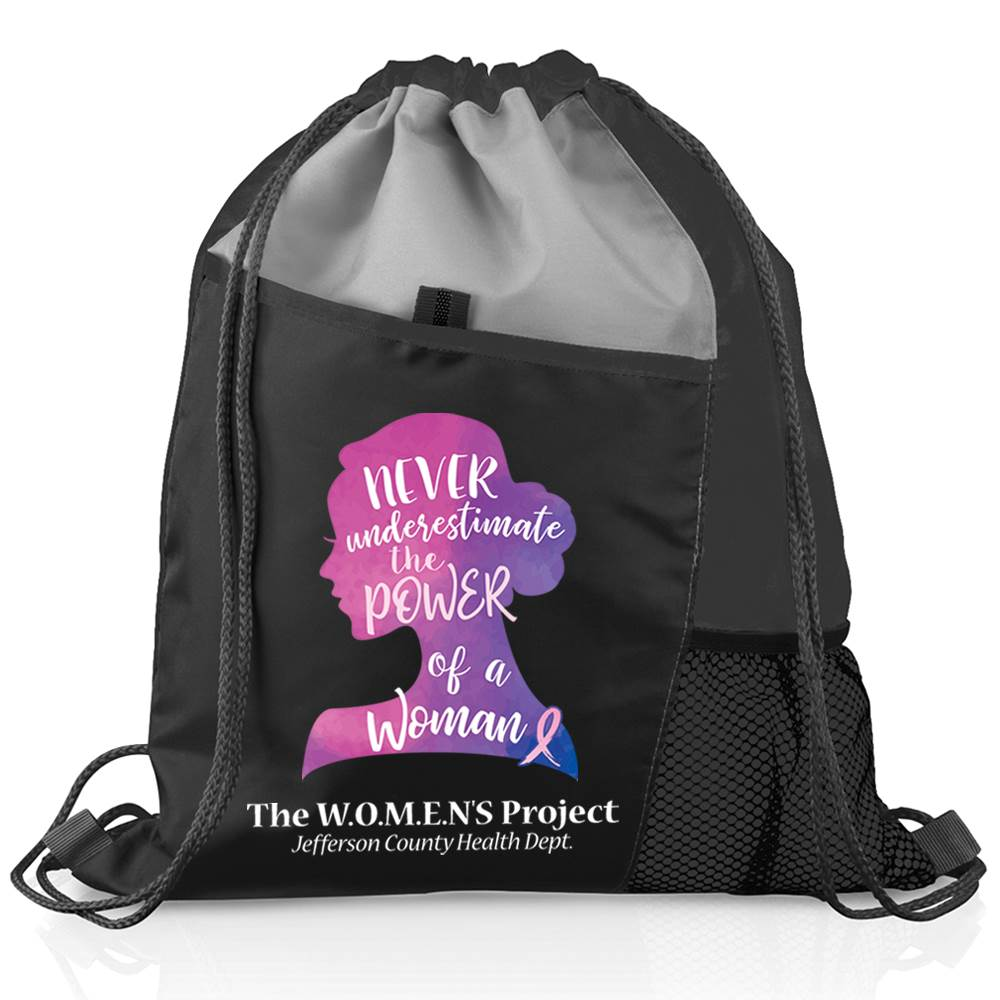 Never Underestimate The Power Of A Woman Black Sport Drawstring Mesh Backpack with Personalization