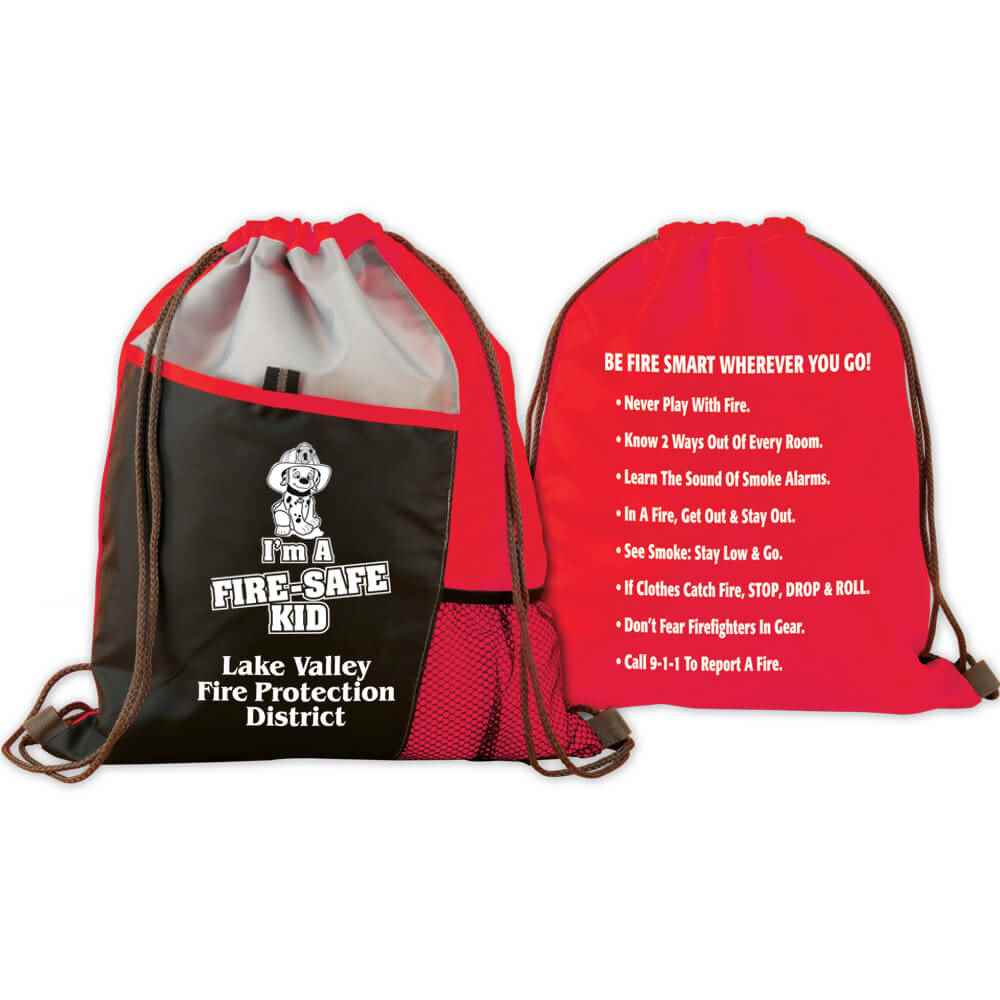 I'm A Fire Safe-Kid Deluxe Drawstring Backpack With Personalization & Fire Safety Tips