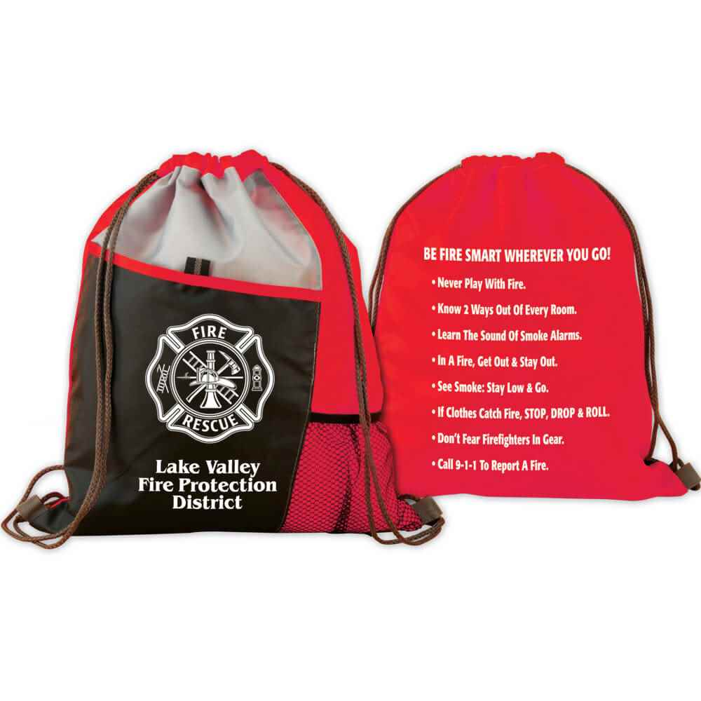 Maltese Cross Deluxe Drawstring Backpack With Personalization & Fire Safety Tips