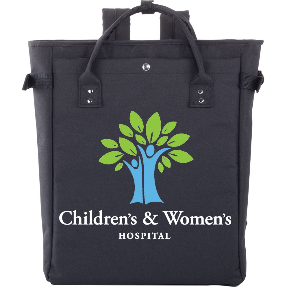 Black Freeport 2-In-1 Tote Bag/Backpack - Full Color Personalization Available
