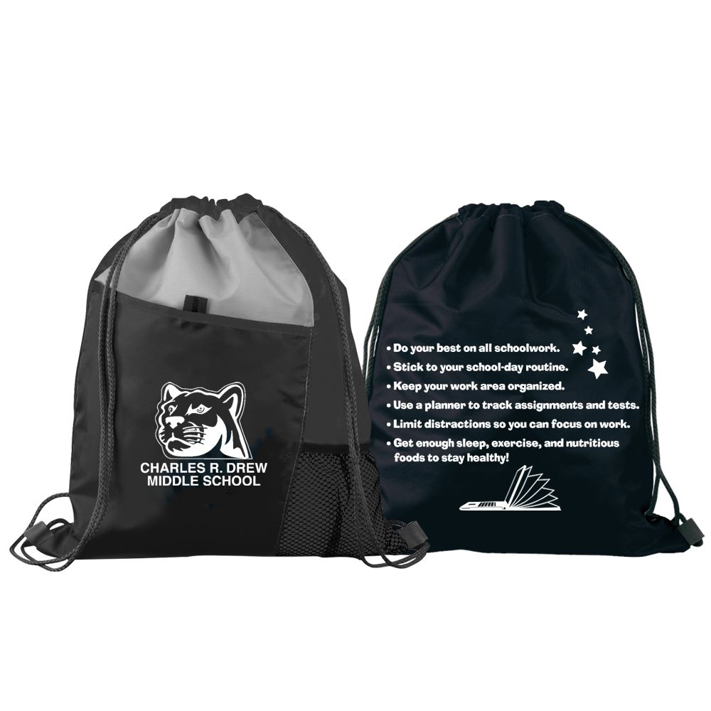 Learning Is Cool At Home & At School Drawstring Backpack - Personalization Available