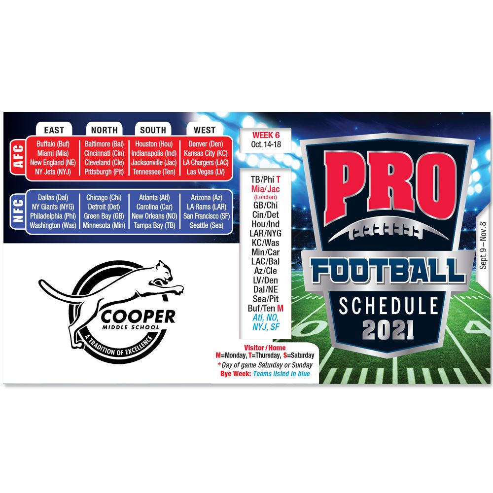 Pro Football 2021 Pocket Size Schedule At a Glance - Personalization Available