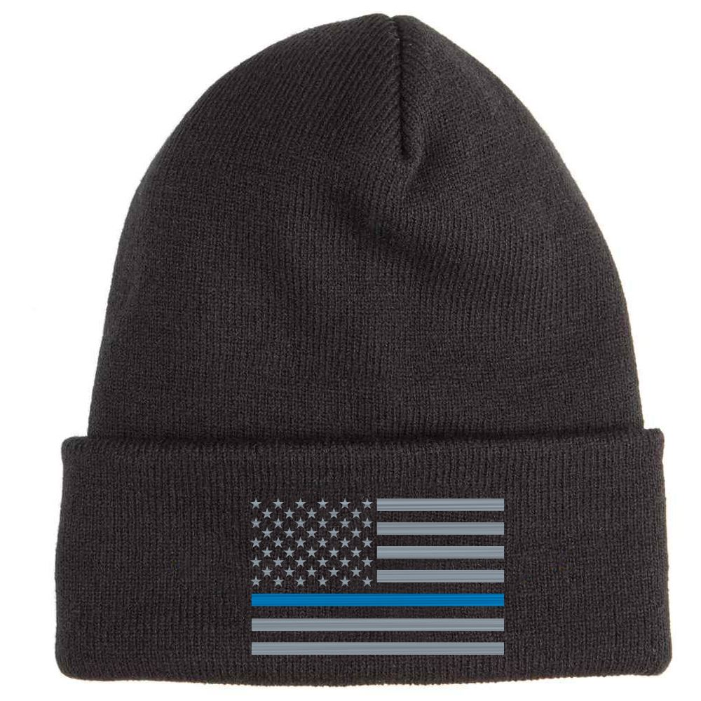 The Thin Blue Line Soft Knit Embroidered Beanie