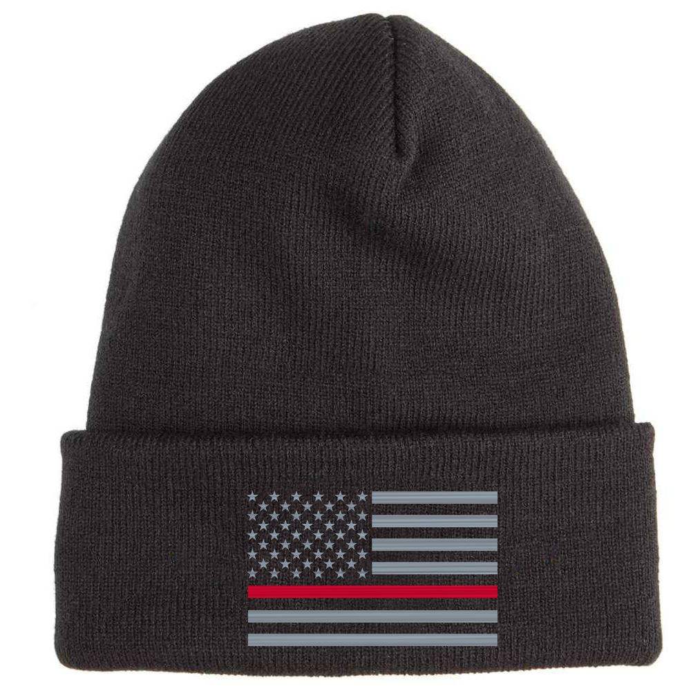 The Thin Red Line Soft Knit Embroidered Beanie