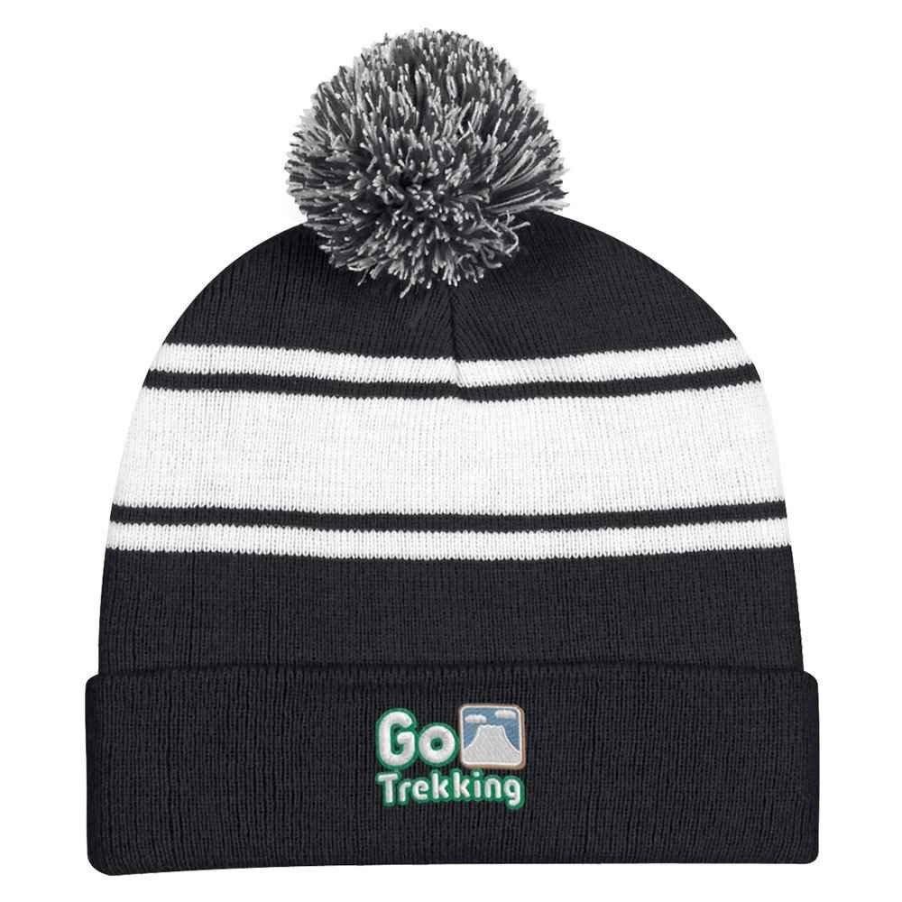 Black/White Two-Tone Knit Pom Pom Beanie