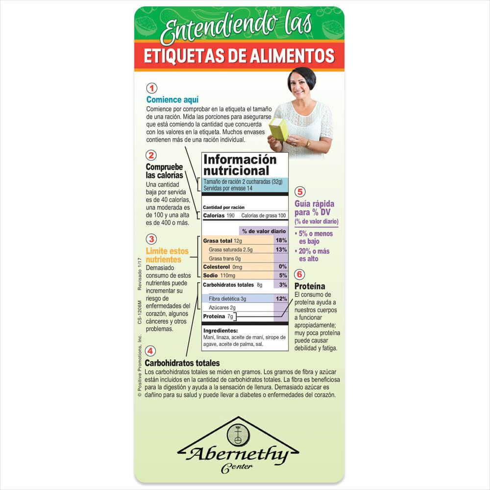 Understanding Food Labels Magnetic Glancer (Spanish) - Personalization Available