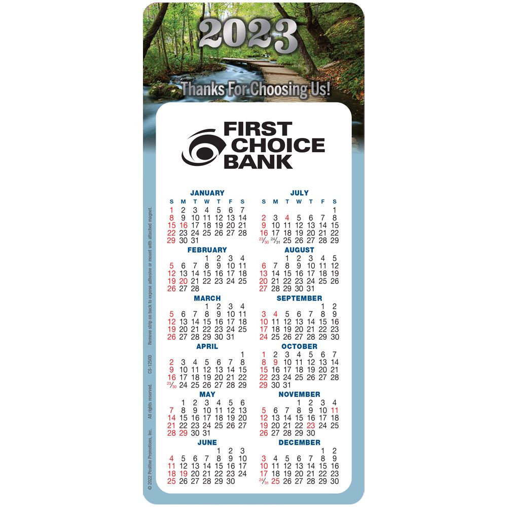 Thanks For Choosing Us! 2022 E-Z 2 Stick Calendar - Personalization Available