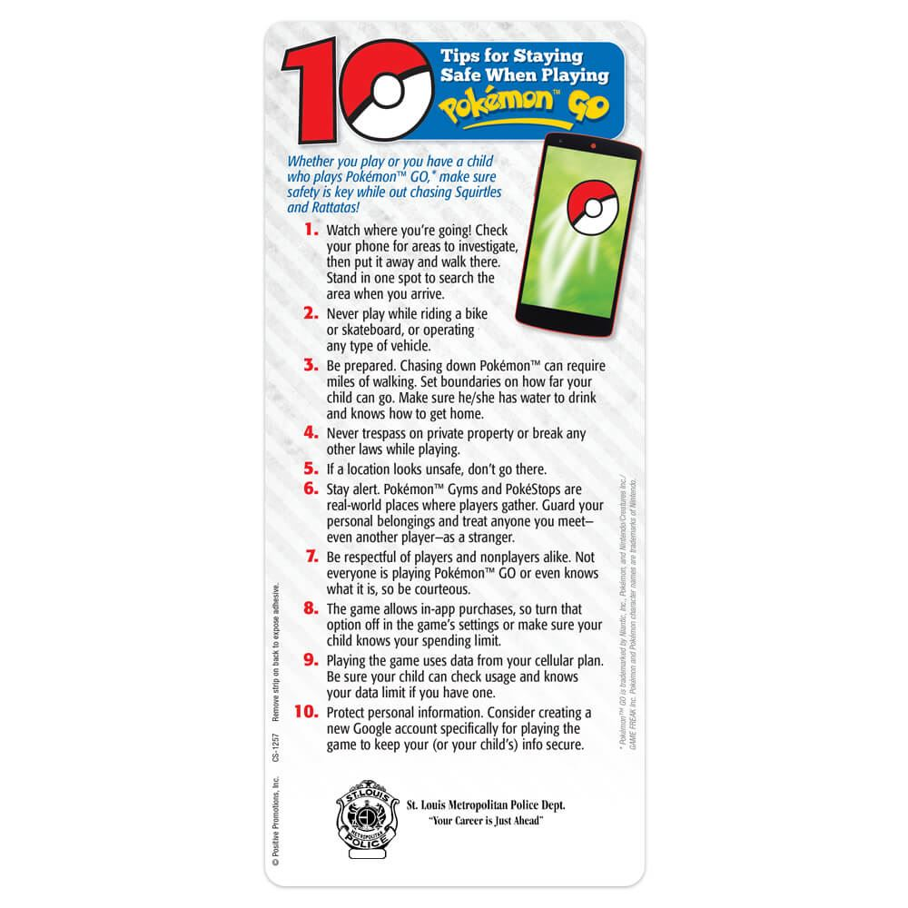 10 Tips for Staying Safe When Playing Pokemon™ Go - Personalization Available