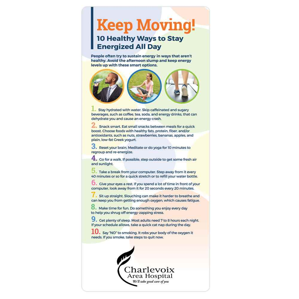 Keep Moving! 10 Healthy Ways To Stay Energized All Day E-Z 2 Stick Glancer - Personalization Available