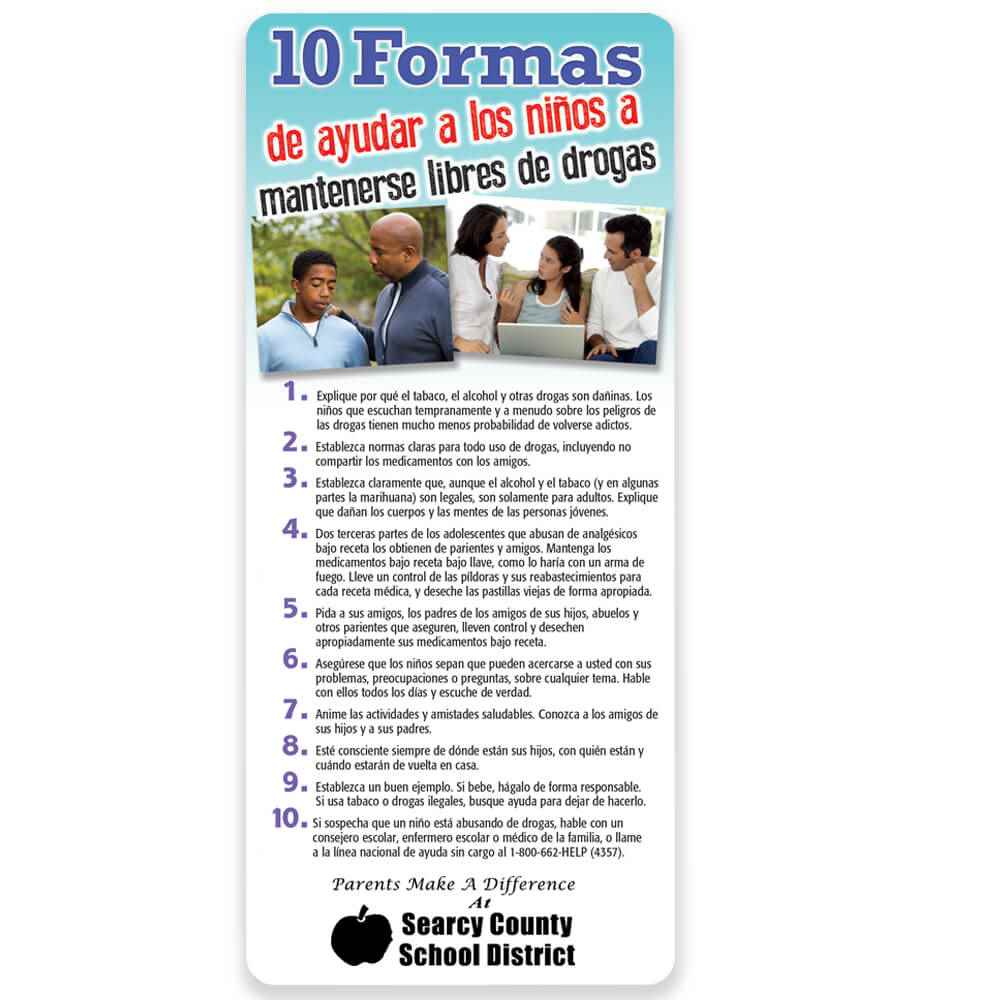 Spanish Language 10 Ways To Help Kids Stay Drug Free Magnetic Glancer - Personalization Available