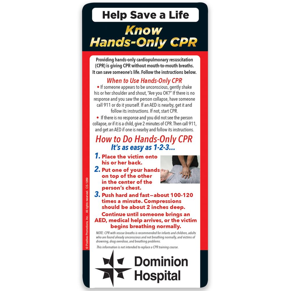Help Save a Life: Know Hands-Only CPR E-Z 2 Stick Glancer - Personalization Available