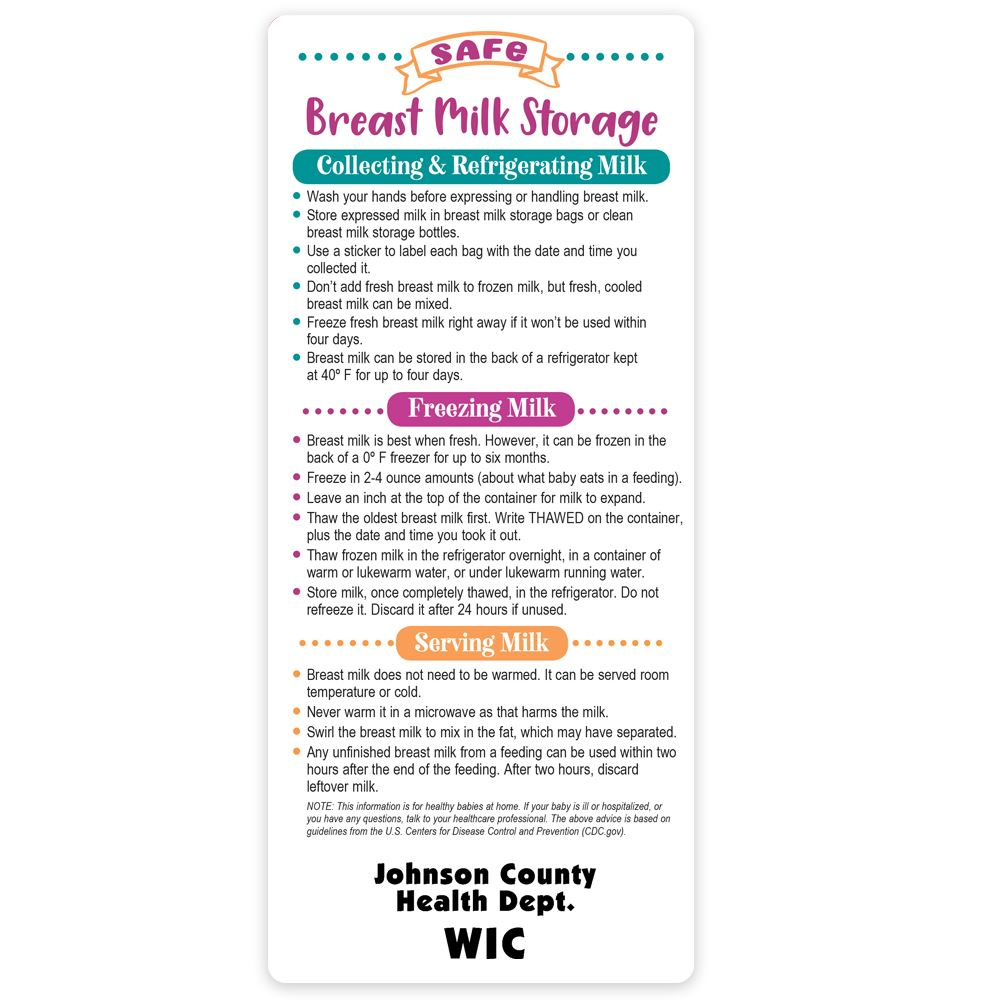 Safe Breast Milk Storage Magnetic E-Z Stick Glancer - Personalization Available