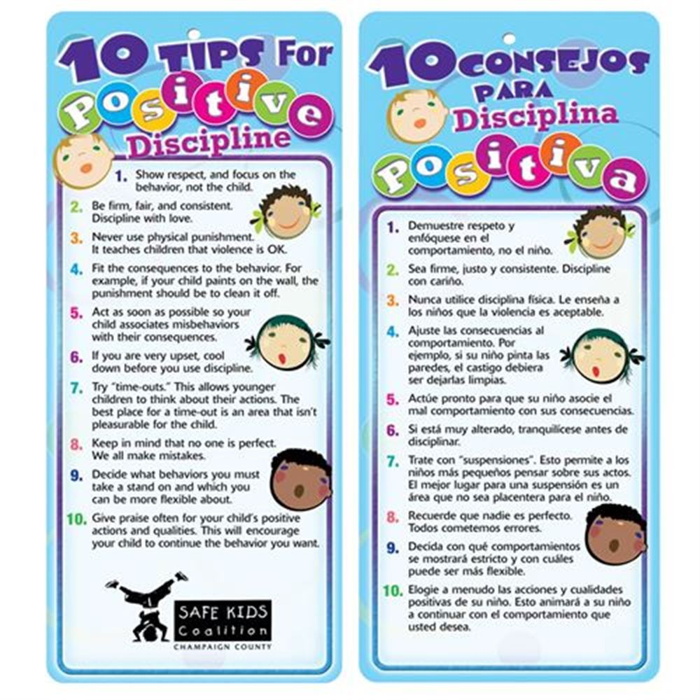 10 Tips For Positive Discipline Two-Sided Bilingual Glancer - Personalization Available