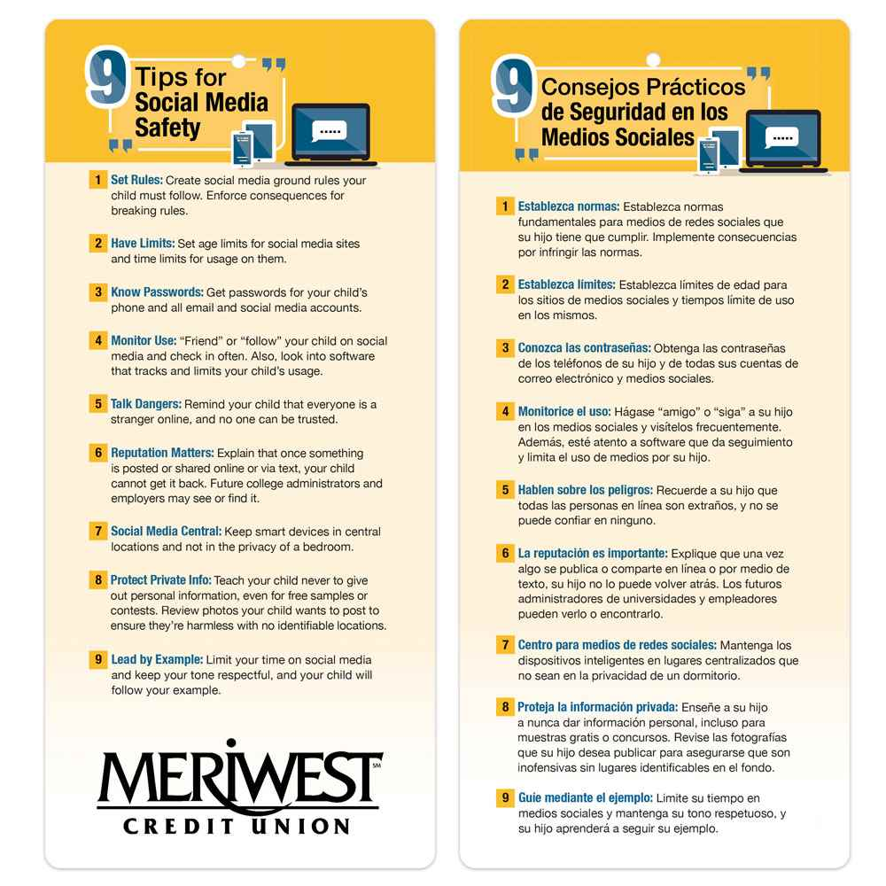 9 Tips for Social Media Safety Two-Sided English/Spanish Glancer - Personalization Available