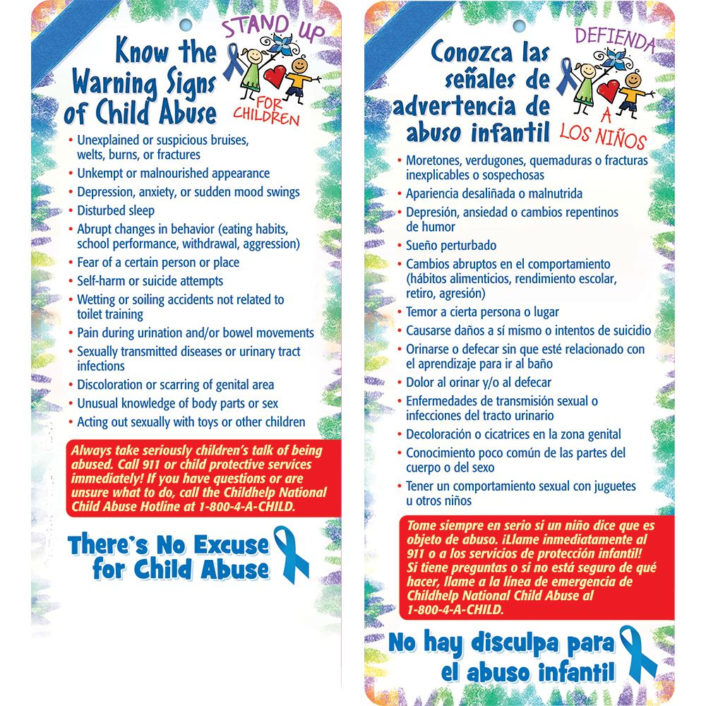 Stand Up For Children Know The Warning Signs Of Child Abuse English/Spanish Glancer - Personalization Available