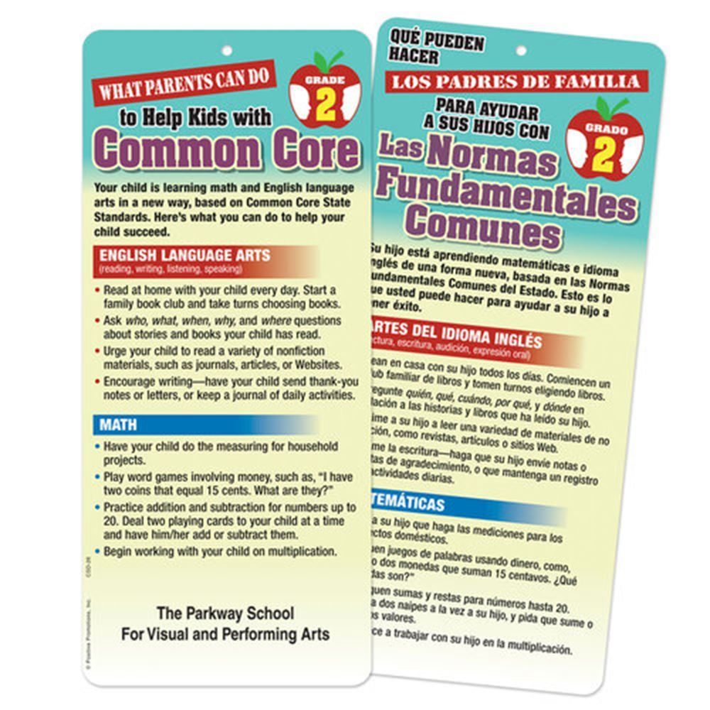 2nd Grade - What Parents Can Do To Help Kids With Common Core 2-Sided Bilingual Glancer - Personalization Available