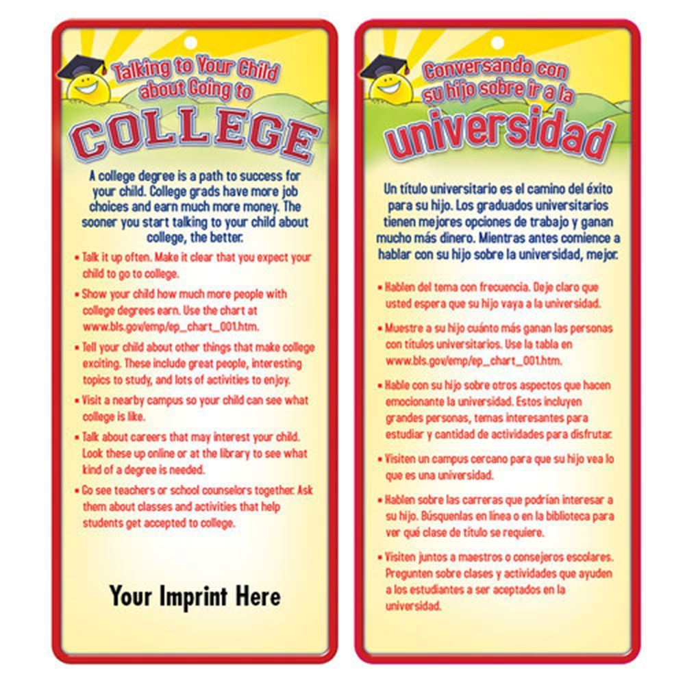 Talking To Your Child About Going To College 2-Sided English/Spanish Glancer - Personalization Available