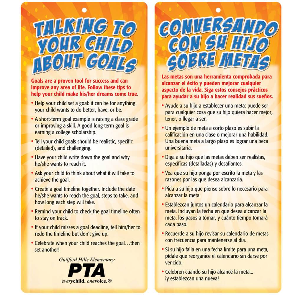 Talking To Your Child About Goals 2-Sided Bilingual Glancer - Personalization Available